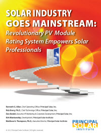 Solar Industry Goes Mainstream: Revolutionary PV Module Rating System Empowers Solar Professionals